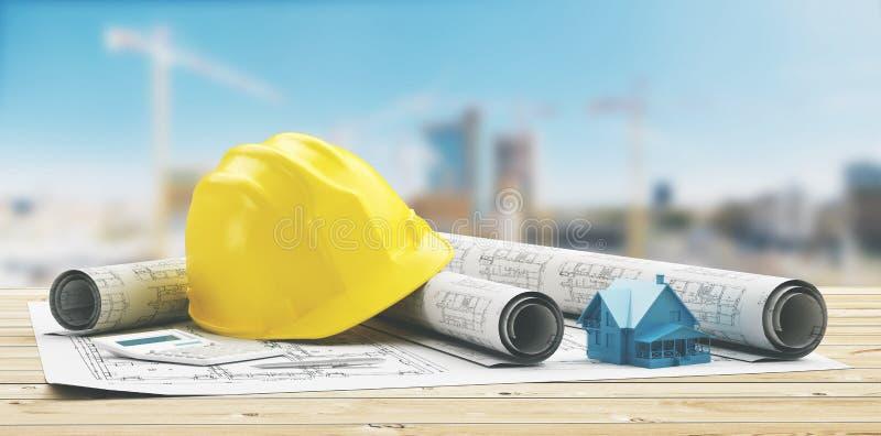 De gele helm met de bouw 3d projecten, geeft terug stock illustratie