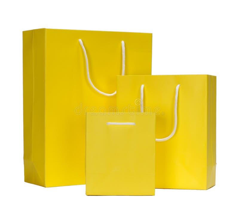 De gele het Winkelen zak van de Zakgift royalty-vrije stock foto
