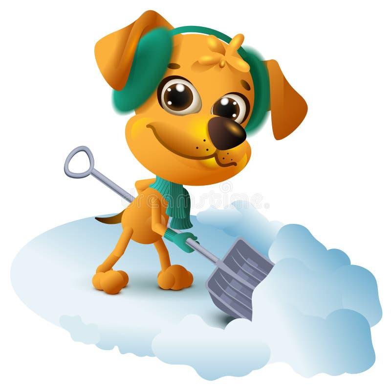 De gele hond maakt sneeuw met schop schoon vector illustratie