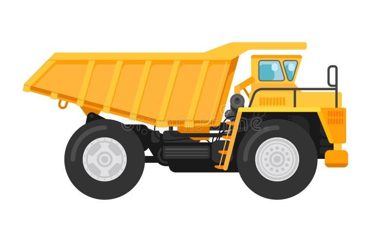 De gele illustratie van de de vrachtwagenkipper van de mijnbouwstortplaats stock illustratie