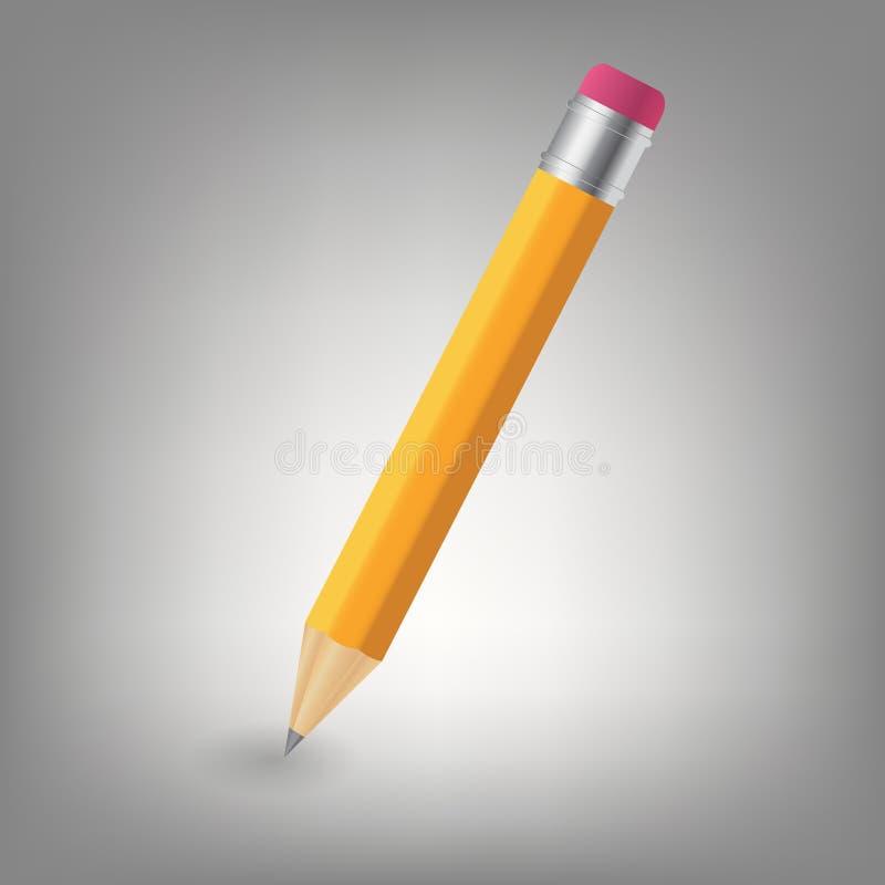 De gele illustratie van het potloodpictogram stock illustratie