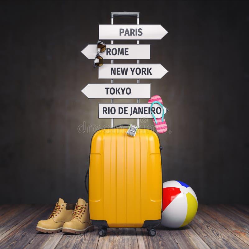 De gele koffer en voorziet met reisbestemming van wegwijzers Toerisme en reisconceptenachtergrond royalty-vrije illustratie