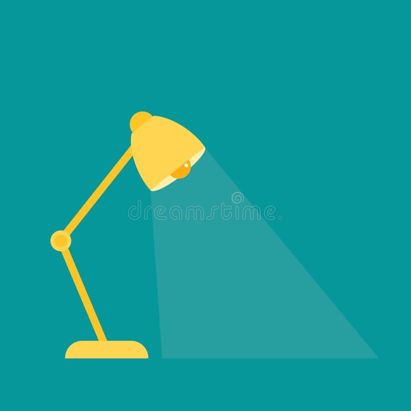 De gele lamp van de bureaulezing, schemerlamp met stralen op blauwe achtergrond Verbeeldingspictogram vector illustratie
