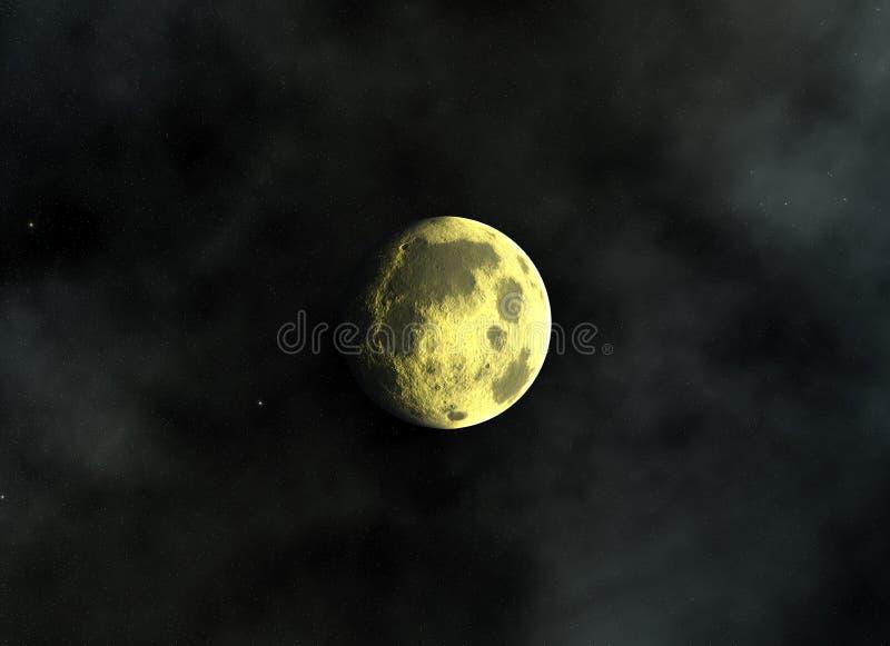 De gele maan op een ruimte speelt achtergronden mee stock afbeelding