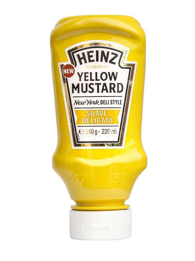 De gele mosterd van Heinz royalty-vrije stock afbeeldingen