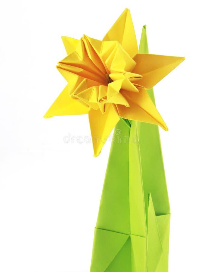 De gele narcissen van de origami stock foto's