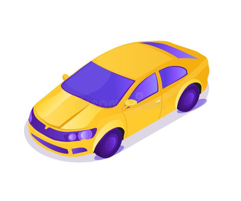 De gele nieuwe compacte illustratie van het auto vectorbeeldverhaal vector illustratie