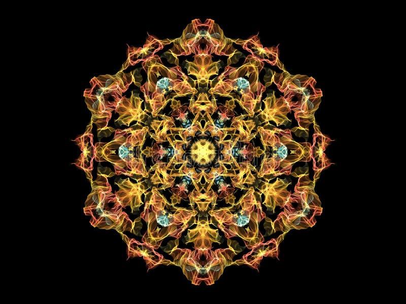 De gele, oranje en blauwe abstracte bloem van vlammandala, sier bloemen rond patroon op zwarte achtergrond Yogathema vector illustratie