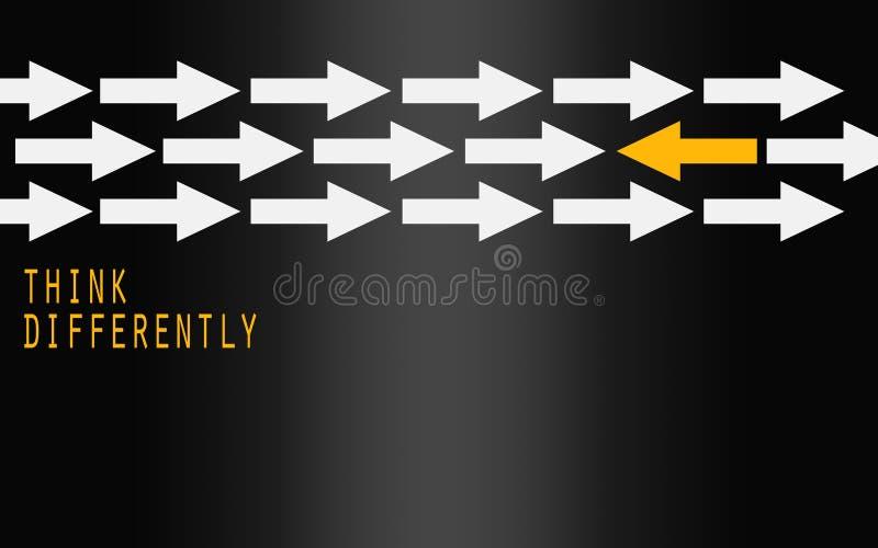 De gele pijl veranderende richting, denkt verschillend concept vector illustratie