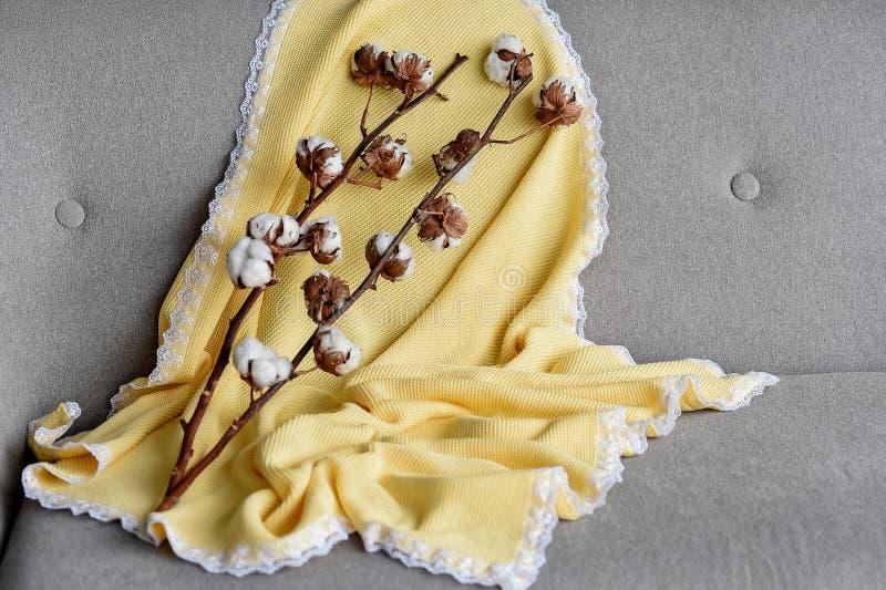 De gele plaid met een kant stock afbeelding