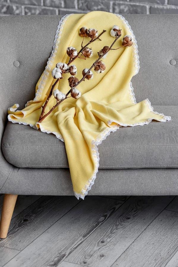De gele plaid met een kant royalty-vrije stock foto