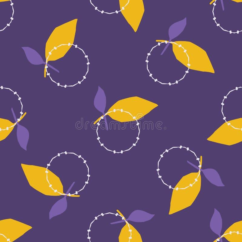 De gele purpere vormen van de bladcirkel Vectorpatroon naadloze geworpen achtergrond Hand getrokken bloemen geometrische grafisch stock illustratie
