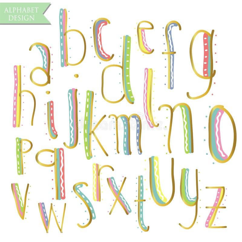 De gele roze blauwgroene gouden kleurrijke brieven van het inktalfabet royalty-vrije illustratie