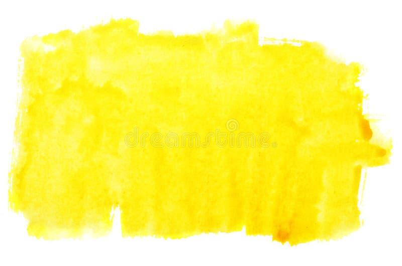 De gele slagen van de waterverfborstel royalty-vrije stock afbeeldingen