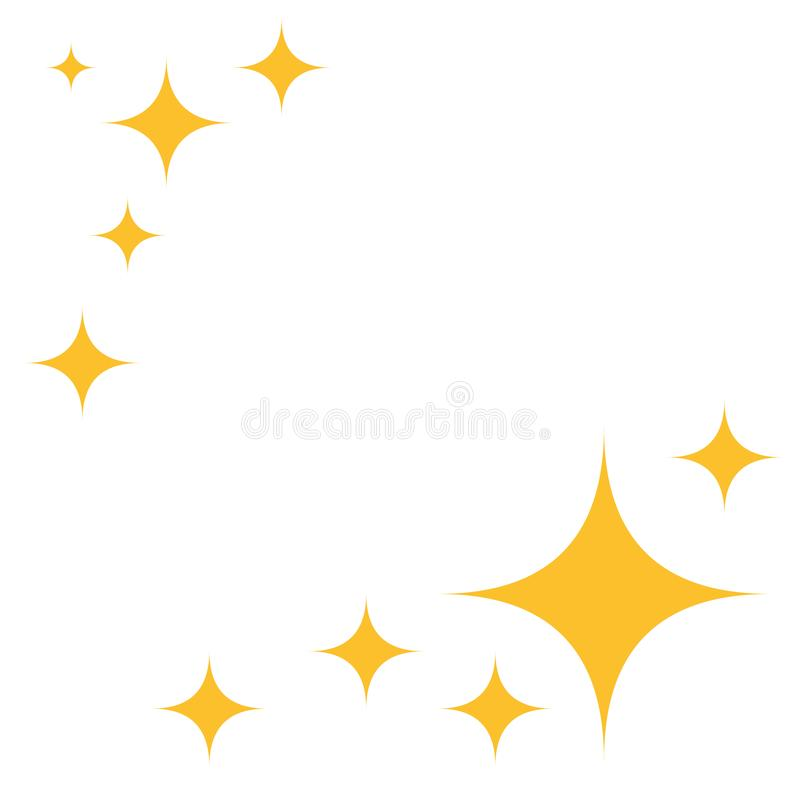 De gele ster schittert pictogrammen Vlakke asterisken, patroon Vectorelementen op geïsoleerde witte achtergrond stock illustratie