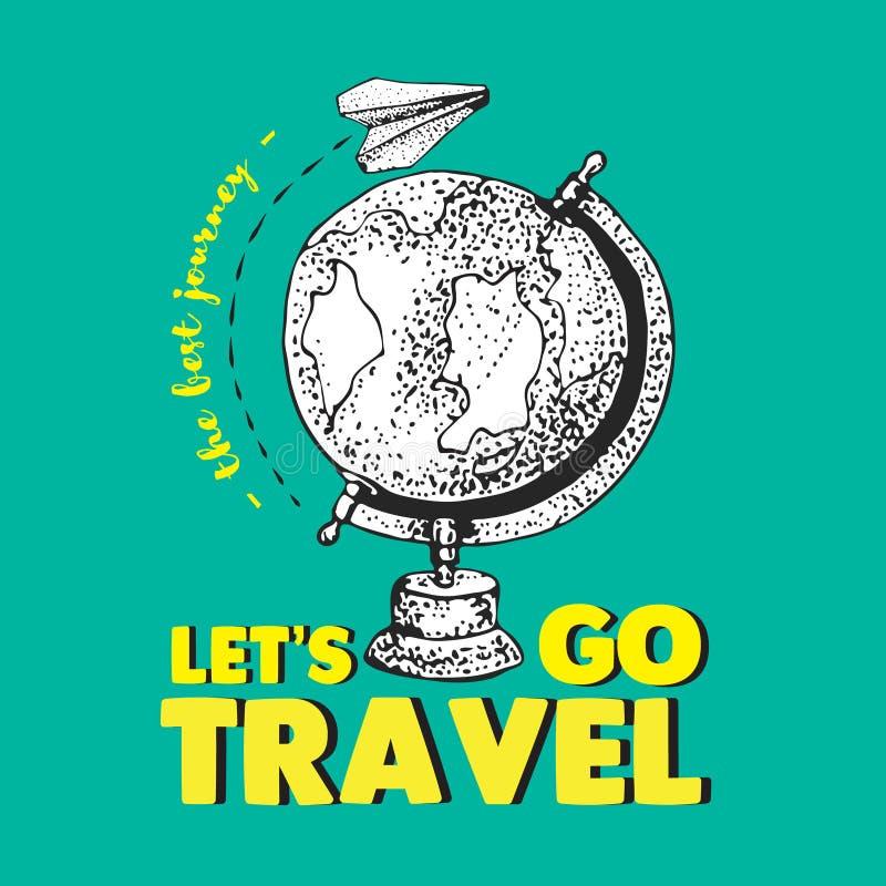 De gele tekst van de liefdereis Het Witboekvliegtuig vliegt rond de wereld De beste reis Aarde Bol Vliegtuigen Geïsoleerde vecto royalty-vrije illustratie