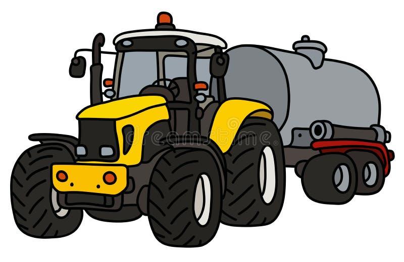 De gele tractor met een staaltank royalty-vrije illustratie
