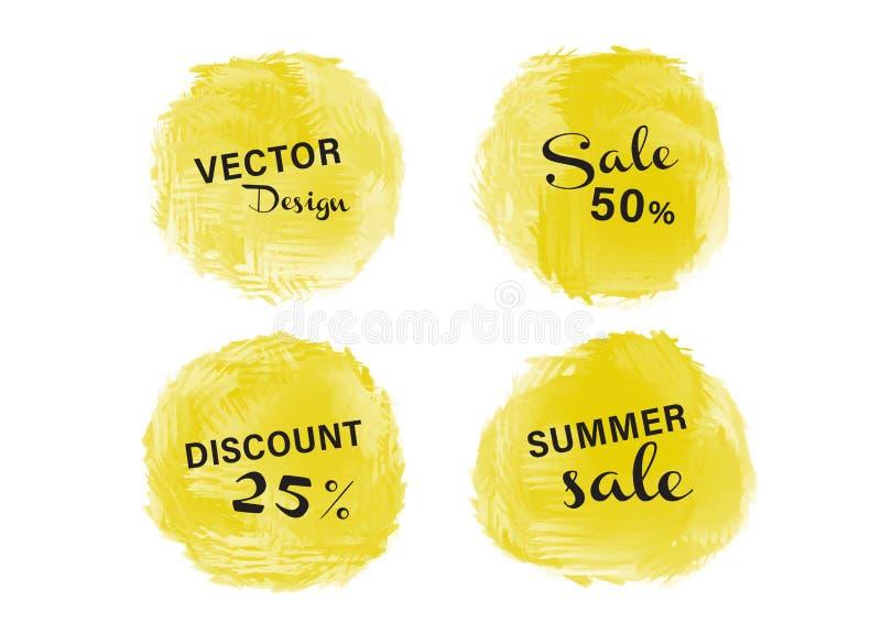 De gele verf van de waterverfcirkel, Grunge-cirkel, pictogramontwerp, Hand getrokken ontwerpelementen, vectorkwaststreken stock illustratie