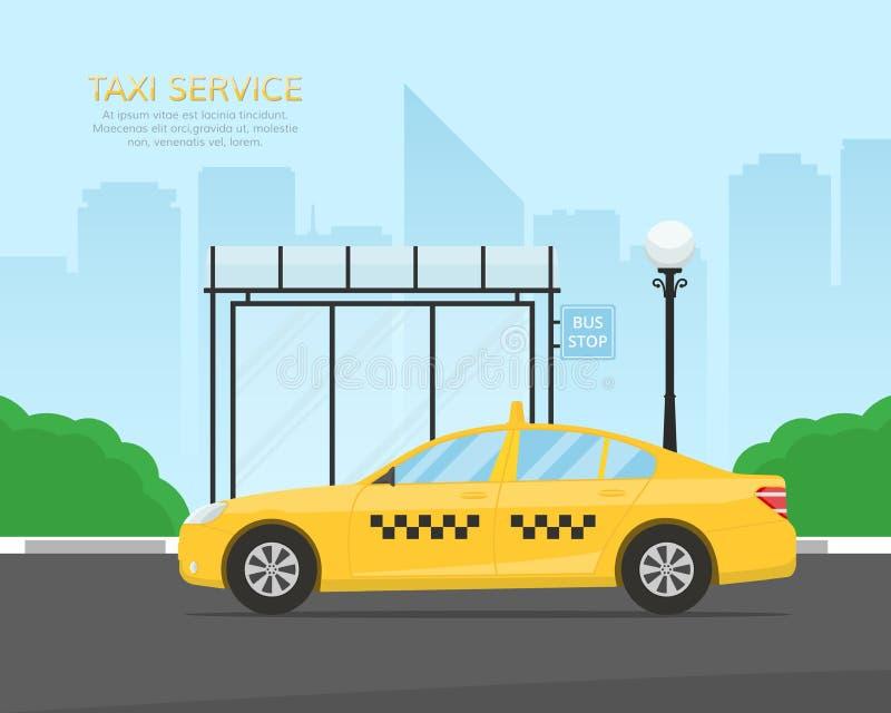 De gele wachtende passagiers van de taxicabine bij een bushalte dichtbij het park Malplaatje voor de banner of aanplakbordtaxidie stock illustratie