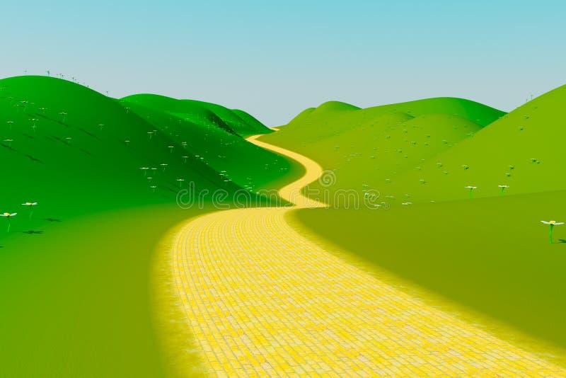 De gele Weg van de Baksteen stock foto's