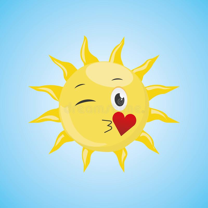 De gele Zon die van het Beeldverhaalsymbool een luchtkus verzenden vector illustratie