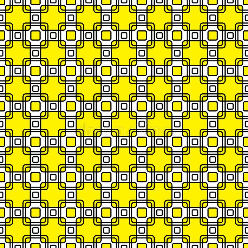 De gele, zwart-witte decoratieve vierkanten herhalen patroon royalty-vrije stock foto's