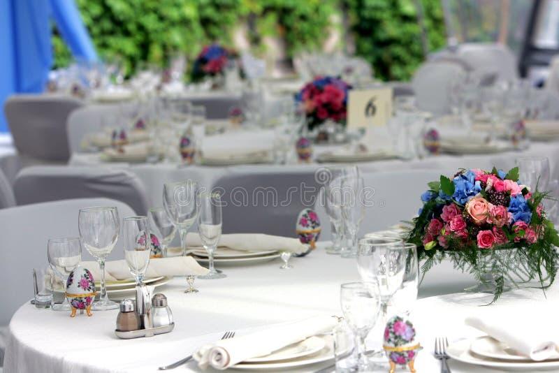 De gelegde lijsten van het huwelijk ontvangst stock foto