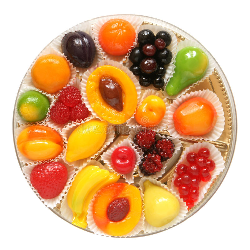 De gelei van het fruit in doos stock foto