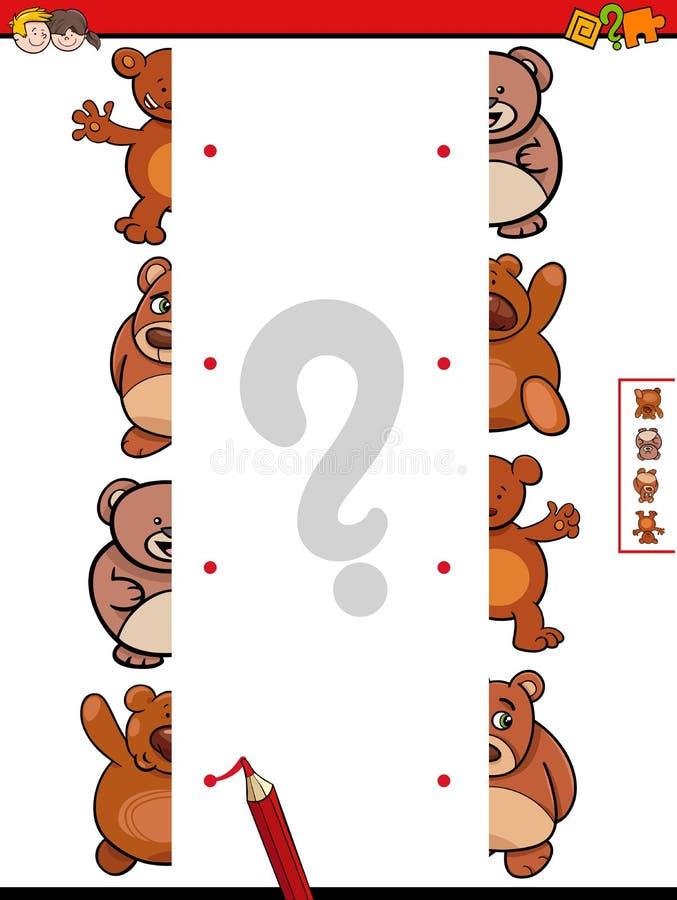 De gelijke draagt het beeldverhaalspel van de dierenhelften vector illustratie