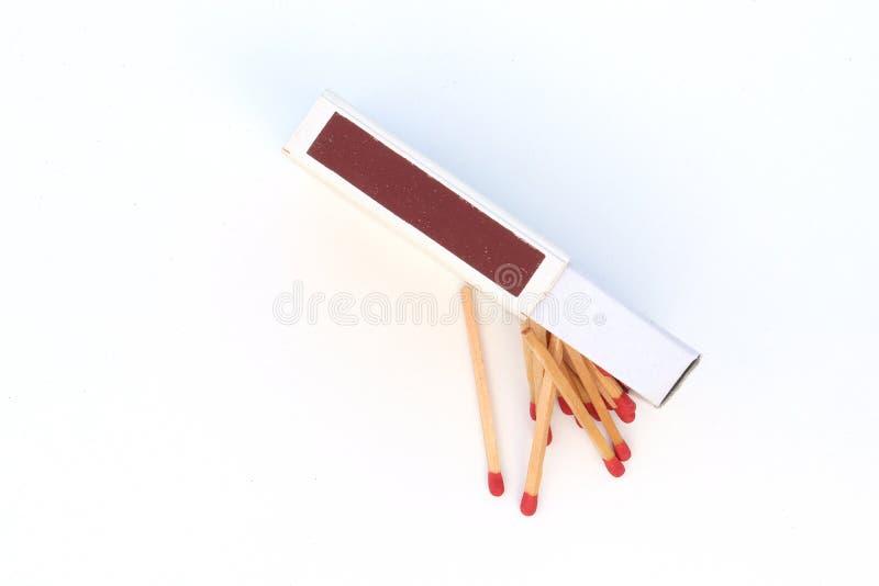 De gelijken, openden lucifersdoosje, matchstick geïsoleerd op witte achtergrond stock foto