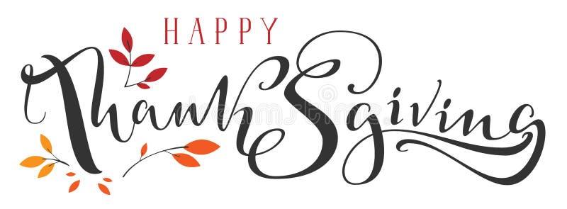 De gelukkig tekst van de Dankzeggings overladen hand geschreven kalligrafie en dalingsblad vector illustratie