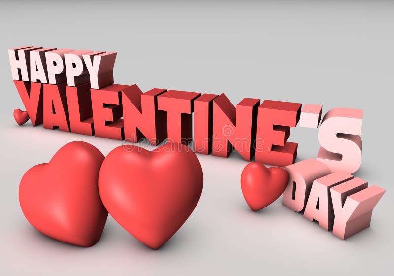 De gelukkige 3D Dag van Valentijnskaarten vector illustratie