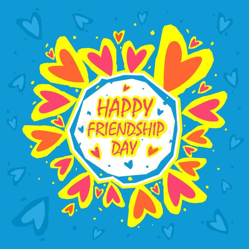 De gelukkige abstracte achtergrond van de vriendschapsdag Het ontwerp van de groetkaart voor gelukkige vriendschapsdag vector illustratie