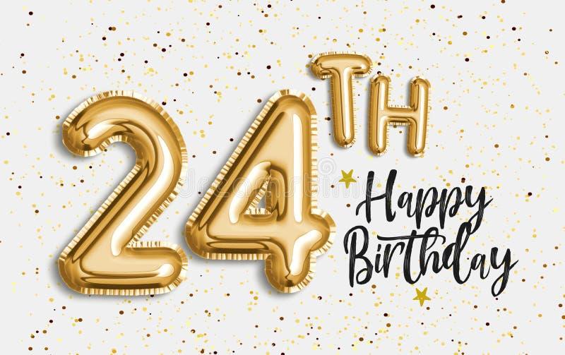 De gelukkige achtergrond van de de ballongroet van de 24ste verjaardags gouden folie stock illustratie