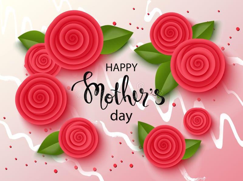 De gelukkige achtergrond van de moedersdag met mooie bloemen Groetkaart met hand het getrokken van letters voorzien Vector illust stock illustratie