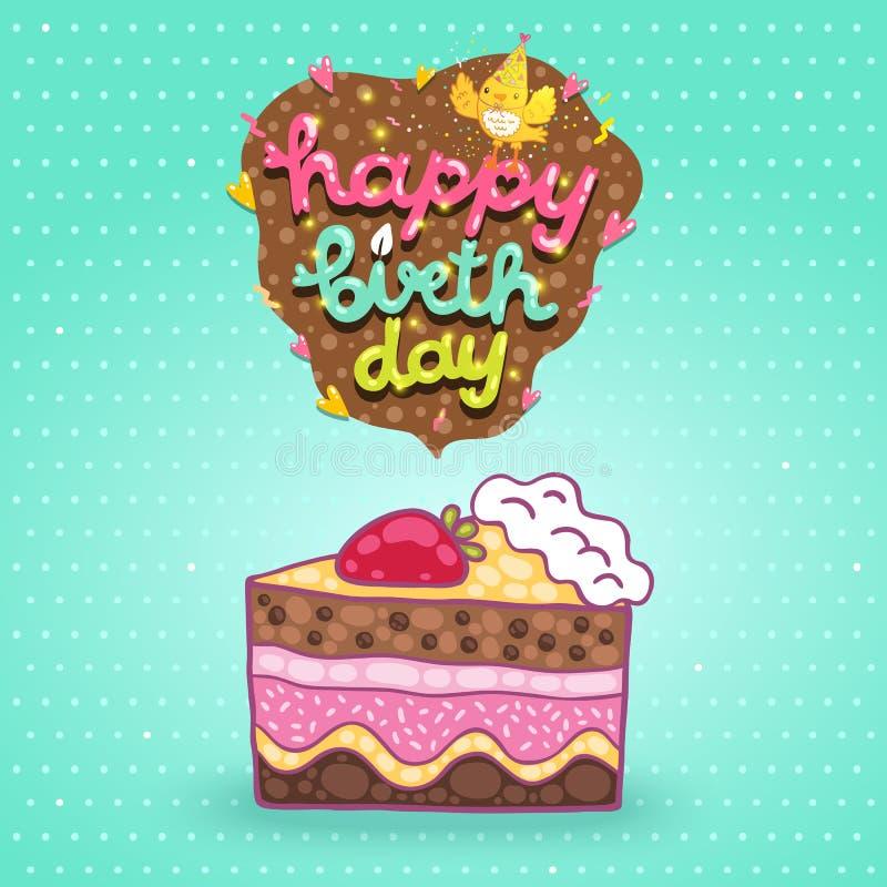 De gelukkige achtergrond van de Verjaardagskaart met cake. vector illustratie