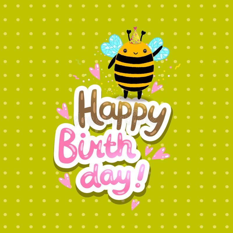 De gelukkige achtergrond van de Verjaardagskaart met een bij royalty-vrije illustratie
