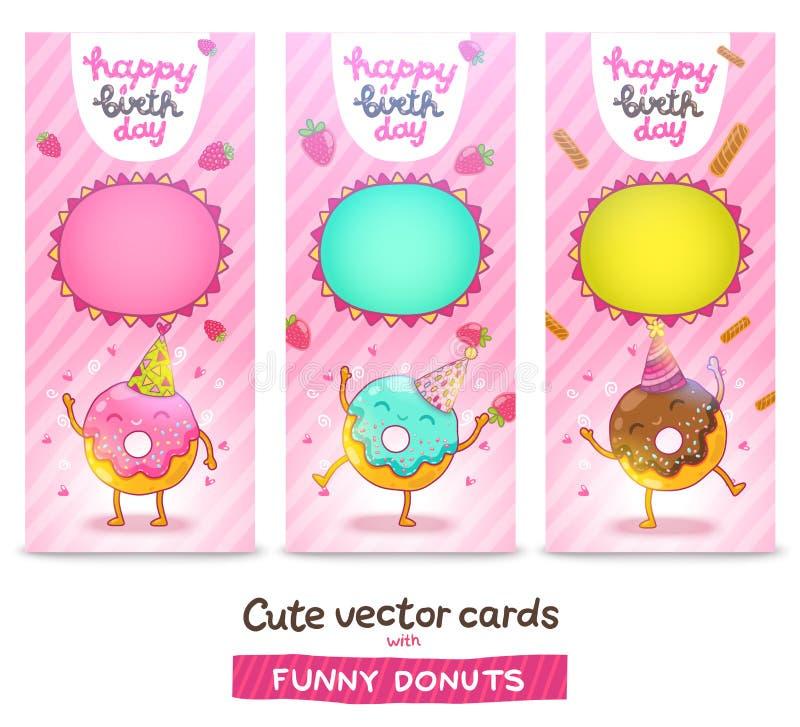 De gelukkige achtergrond van de Verjaardagskaart met leuke doughnut. stock illustratie
