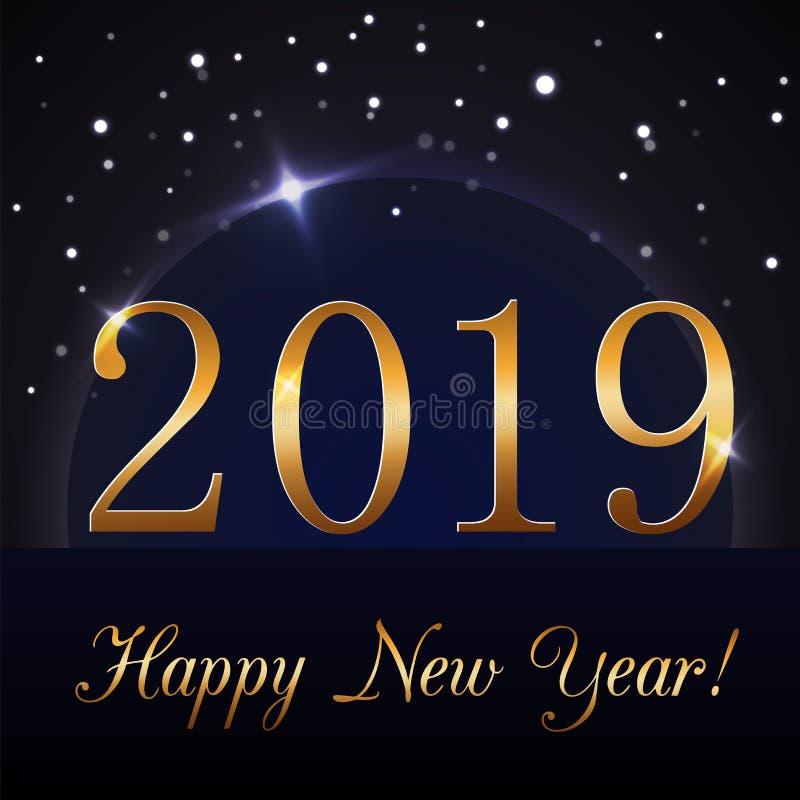 De gelukkige achtergrond van het Nieuwjaar Magische regen en blauwe bol Gouden nummer 2019 op horizon Het ontwerp van de Kerstmis royalty-vrije illustratie