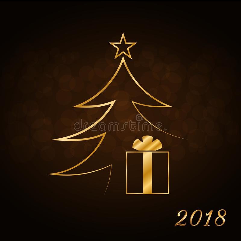 De gelukkige achtergrond van de Nieuwjaarviering, gouden Kerstmisboom Decoratieve gouden giftdoos, ster Eenvoudige schetskaart, h vector illustratie