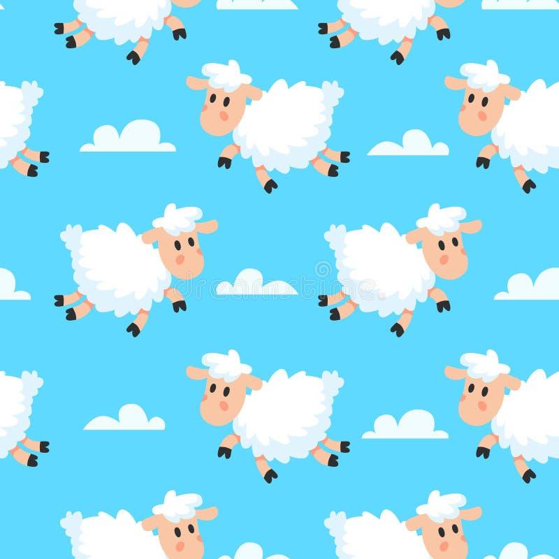 De gelukkige achtergrond van de slaap sheeps stof Dromerige wollige lam of schapenbeeldverhaal naadloze illustratie royalty-vrije illustratie