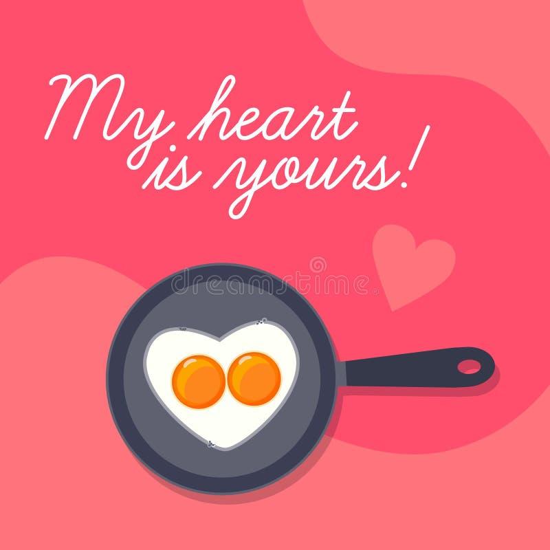 De gelukkige achtergrond van de Valentijnskaartendag, de mooie scrambled eieren van de hartvorm op pan royalty-vrije illustratie