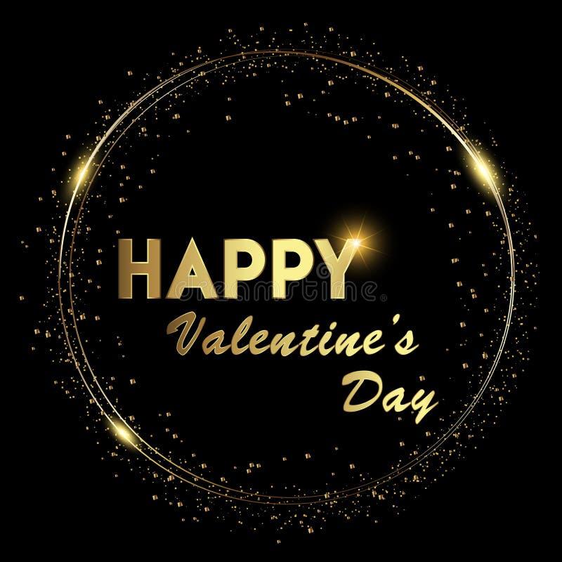 De gelukkige achtergrond van Valentine ` s met glanzende gouden en gloeiende lichtenteksten op zwarte achtergrond Vector royalty-vrije illustratie
