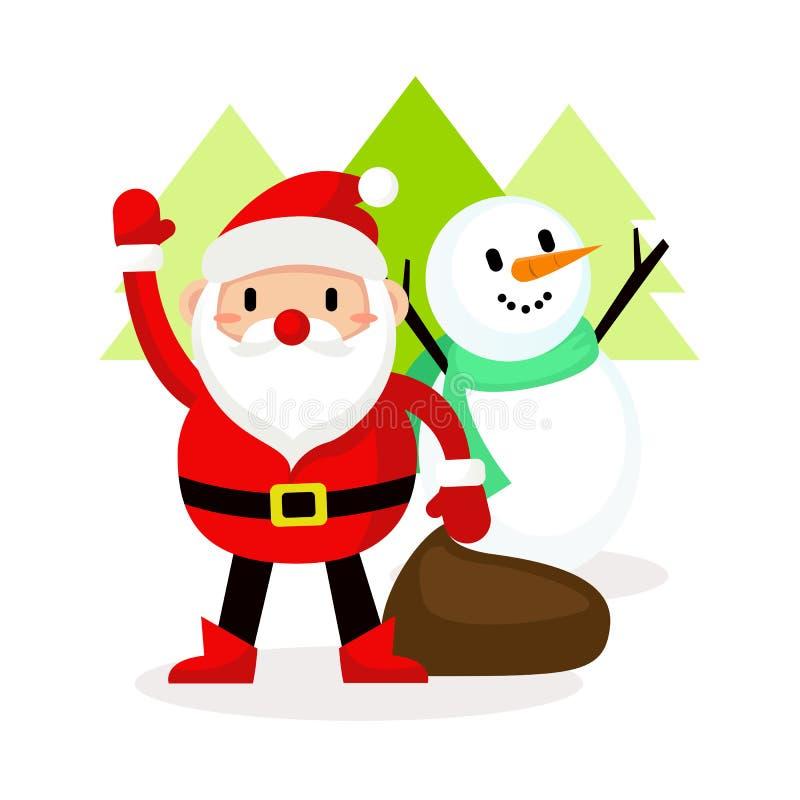 De gelukkige actie van de Kerstman en van de Sneeuwman, Vrolijke Kerstmis stock illustratie