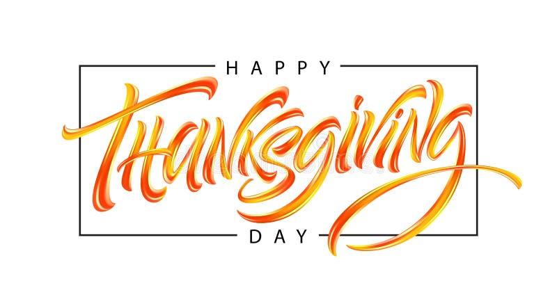 De gelukkige affiche van de Dankzeggingshand getrokken typografie Groetkaart voor Dankzegging Kalligrafie het van letters voorzie vector illustratie
