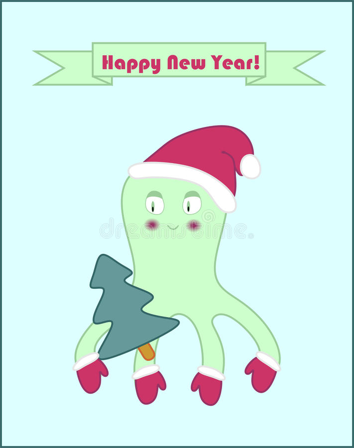 De gelukkige affiche van de Nieuwjaaroctopus royalty-vrije illustratie
