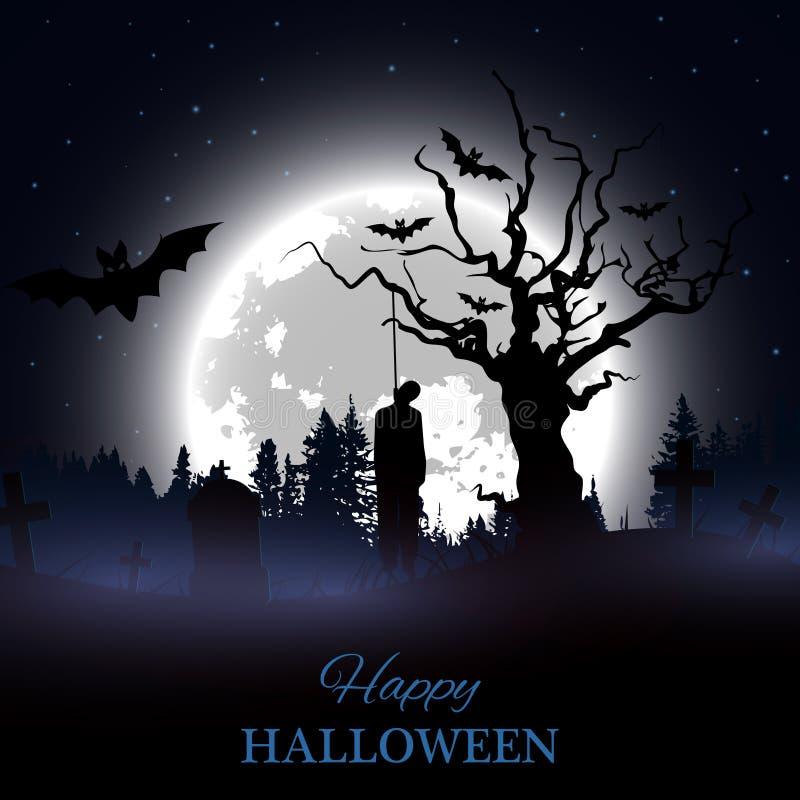 De gelukkige Affiche van Halloween Achtergrond met griezelig kerkhof, naakte boom, graven, knuppels en gehangen mensensilhouet vector illustratie