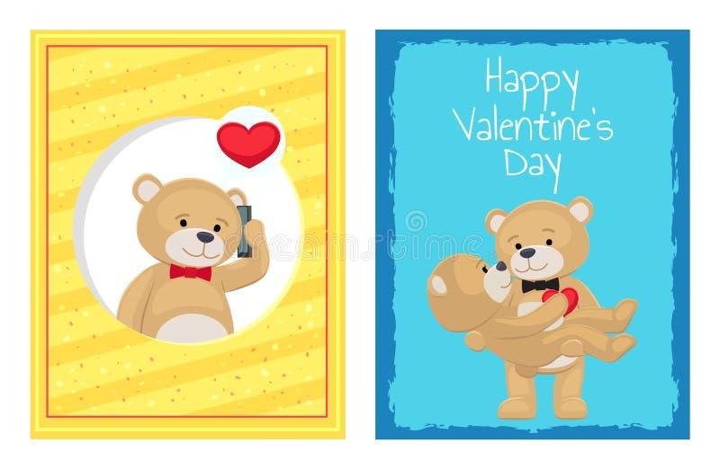 De gelukkige Affiches van de Valentijnskaartendag Geplaatst Pluche draagt Speelgoed vector illustratie