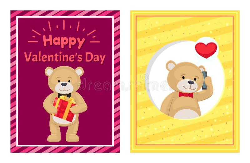 De gelukkige Affiches van de Valentijnskaartendag Geplaatst Pluche Teddy Toy stock illustratie