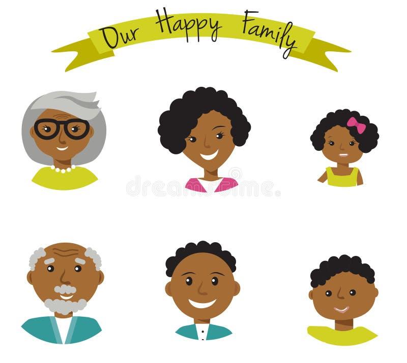 De gelukkige Afrikaanse Amerikaanse familie ziet portretten van zes leden onder ogen: ouders, hun zoon en dochter, en grootouders stock illustratie